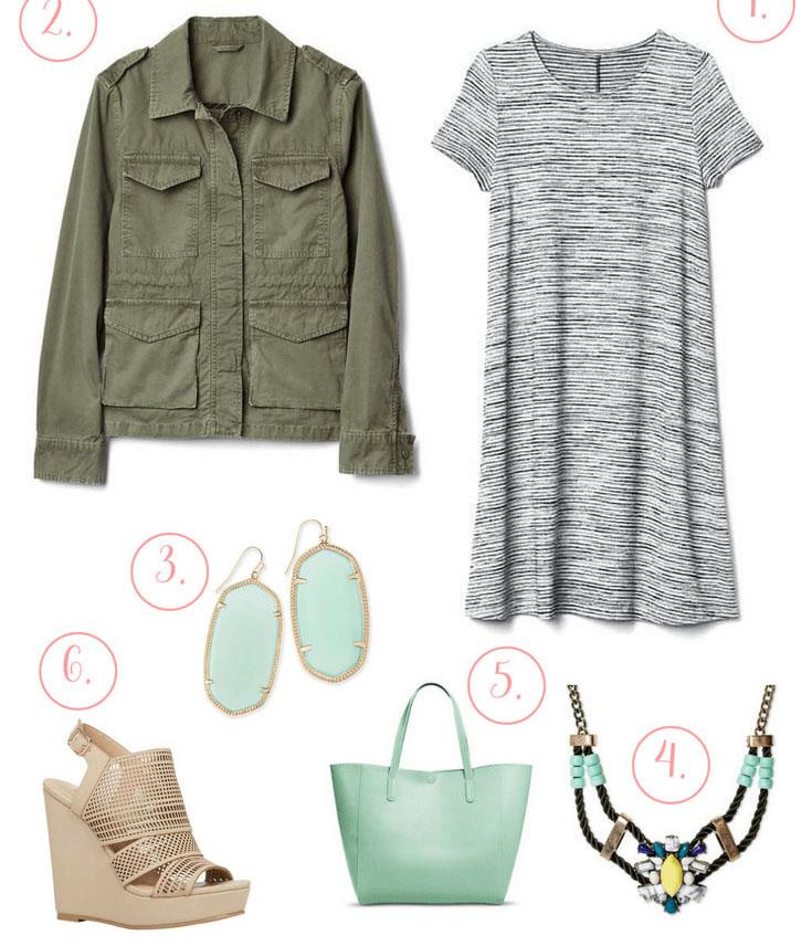grayl-dress-tshirt-green-olive-jacket-utility-necklace-sun-tan-shoe-sandalw-green-bag-tote-mint-earrings-spring-summer-lunch.jpg