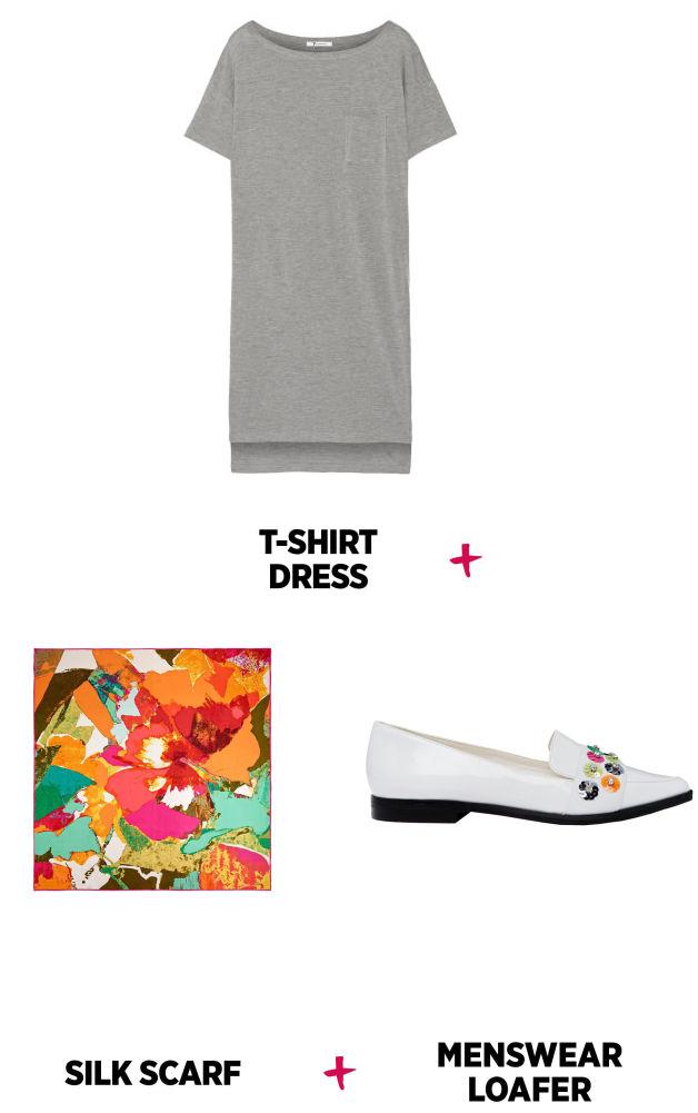 grayl-dress-white-shoe-flats-loafers-orange-scarf-silk-tshirt-wear-style-fashion-spring-summer-work.jpg