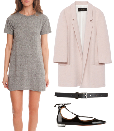 grayl-dress-pink-light-jacket-blazer-boyfriend-black-shoe-flats-skinny-belt-tshirt-wear-style-fashion-spring-summer-outfit-work.jpg
