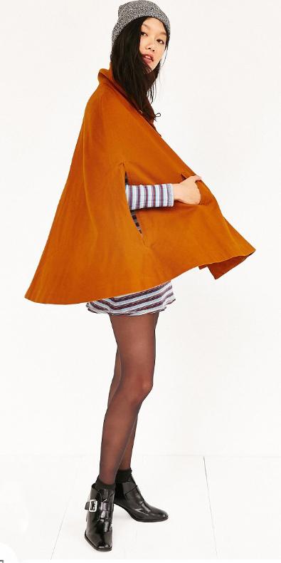 grayl-dress-zprint-stripe-orange-jacket-coat-cape-black-shoe-booties-black-tights-beanie-tshirt-wear-style-fashion-fall-winter-brunette-lunch.jpg