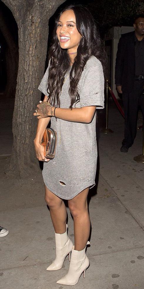 grayl-dress-white-shoe-booties-tan-bag-clutch-tshirt-night-celebrity-wear-style-fashion-spring-summer-brunette-dinner.jpg