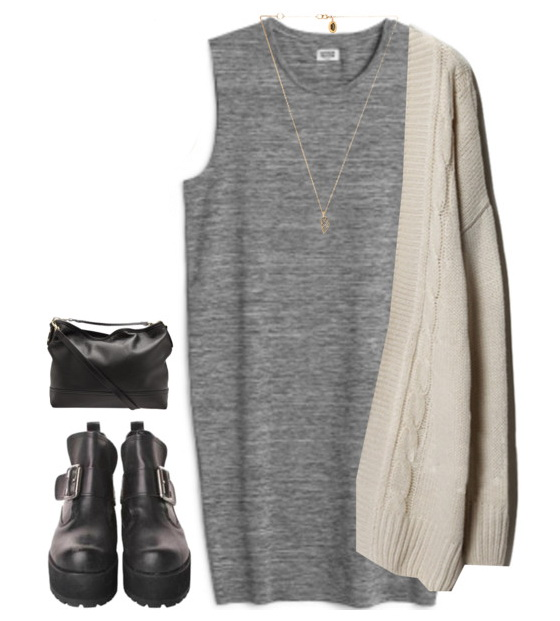 grayl-dress-white-cardiganl-necklace-pend-tshirt-black-shoe-booties-black-bag-howtowear-fashion-style-outfit-spring-summer-weekend.jpg