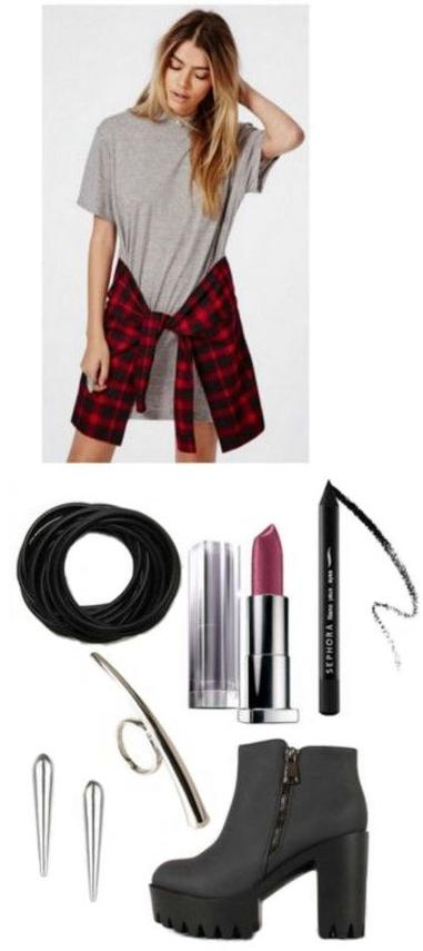 grayl-dress-black-shoe-booties-tshirt-red-plaid-shirt-wear-style-fashion-fall-winter-hairr-lunch.jpg