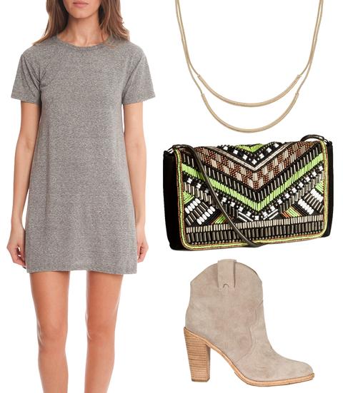 grayl-dress-a-tan-shoe-booties-green-bag-clutch-necklace-tshirt-wear-style-fashion-spring-summer-date-dinner.jpg