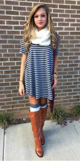 grayl-dress-zprint-stripe-cognac-shoe-boots-white-scarf-socks-tshirt-wear-style-fashion-fall-winter-blonde-weekend.jpg