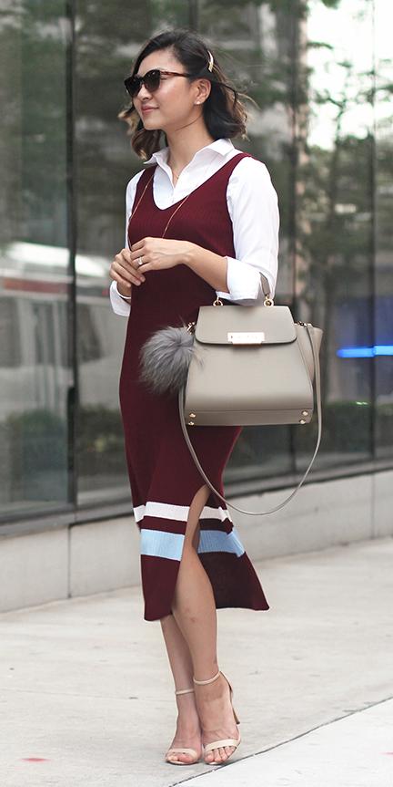 burgundy-dress-sweater-layer-white-collared-shirt-clip-tan-shoe-sandalh-fall-winter-brun-work.jpg
