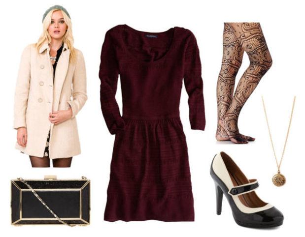 burgundy-dress-white-jacket-coat-black-shoe-pumps-black-tights-black-bag-clutch-fall-winter-sweater-necklace-pend-dinner.jpg