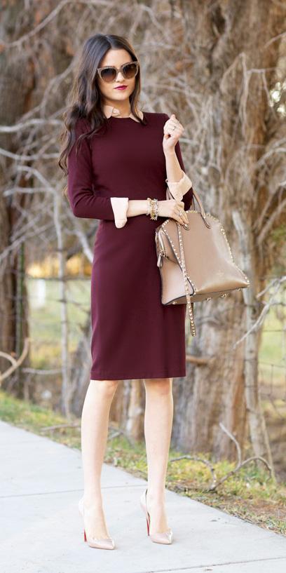 burgundy-dress-sweater-tan-collared-shirt-tan-bag-sun-tan-shoe-pumps-fall-winter-brun-work.jpg