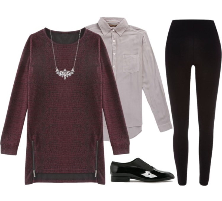 r-burgundy-dress-purple-light-collared-shirt-black-leggings-pants-black-shoe-brogues-necklace-sweater-wear-style-fashion-fall-winter-tunic-work.jpg