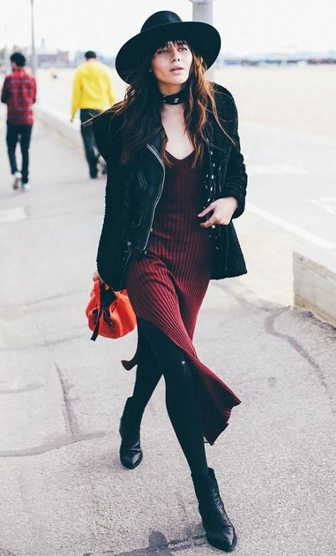 burgundy-dress-sweater-black-tights-brun-black-shoe-booties-black-jacket-moto-black-scarf-neck-hat-fall-winter-lunch.jpg