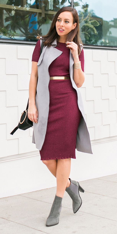 burgundy-dress-sweater-belt-hairr-grayl-vest-tailor-black-bag-gray-shoe-booties-fall-winter-lunch.jpg