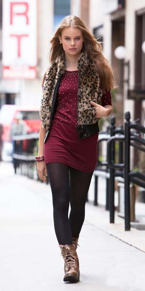 burgundy-dress-sweater-black-tights-tan-vest-leopard-print-brown-shoe-booties-fall-winter-blonde-lunch.jpg