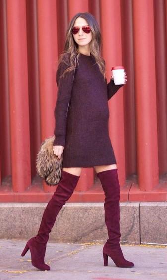 burgundy-dress-sweater-sun-hairr-burgundy-shoe-boots-otk-mono-tan-bag-fall-winter-lunch.jpg