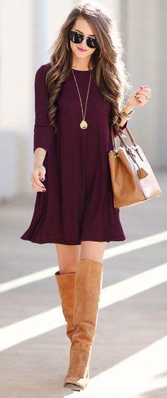 burgundy-dress-sweater-cognac-shoe-boots-cognac-bag-necklace-pend-hairr-fall-winter-lunch.jpg