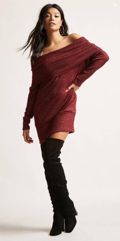 burgundy-dress-sweater-hoops-brun-black-shoe-boots-otk-fall-winter-dinner.jpg