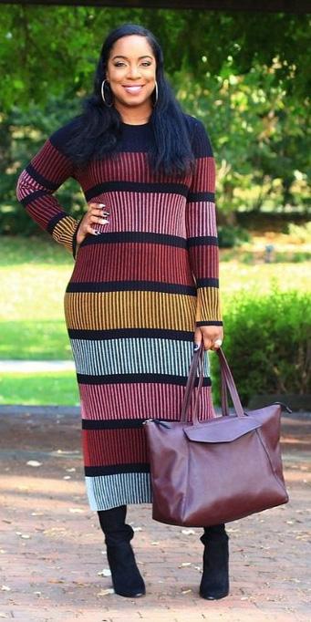 burgundy-dress-sweater-stripe-black-shoe-boots-burgundy-bag-hoops-fall-winter-brun-lunch.jpg