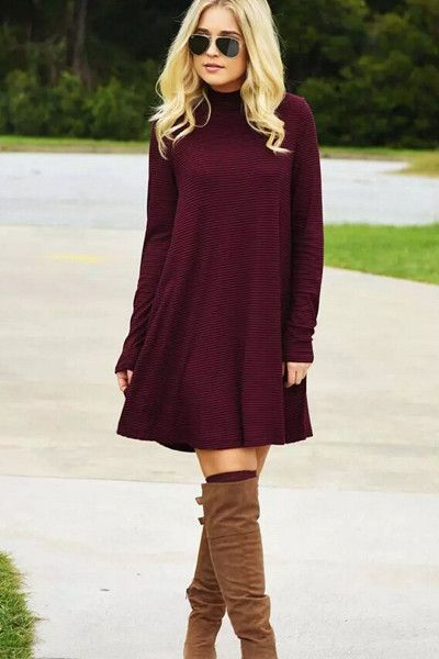 burgundy-dress-sweater-sun-cognac-shoe-boots-fall-winter-blonde-lunch.jpg