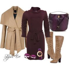 r-burgundy-dress-tan-jacket-coat-wrap-tan-shoe-boots-burgundy-bag-howtowear-fashion-style-outfit-fall-winter-sweater-turtleneck-watch-kneeboots-work.jpg