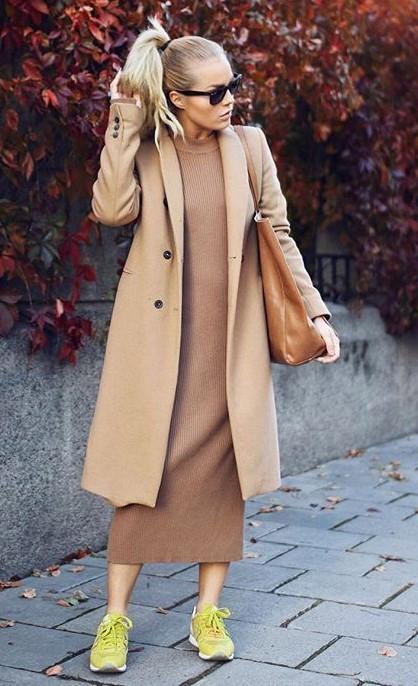tan-dress-sweater-tan-jacket-coat-pony-blonde-sun-cognac-bag-tote-yellow-shoe-sneakers-fall-winter-weekend.jpg