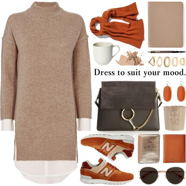 tan-dress-sweater-turtleneck-orange-shoe-sneakers-sun-gray-bag-orange-scarf-earrings-fall-winter-weekend.jpg