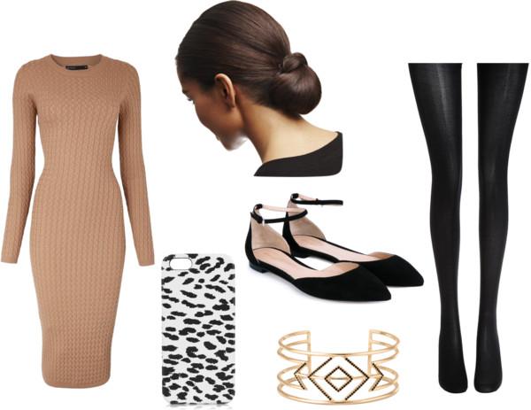o-tan-dress-black-tights-black-shoe-flats-howtowear-fashion-style-outfit-fall-winter-sweater-bun-bracelet-office-brunette-work.jpg