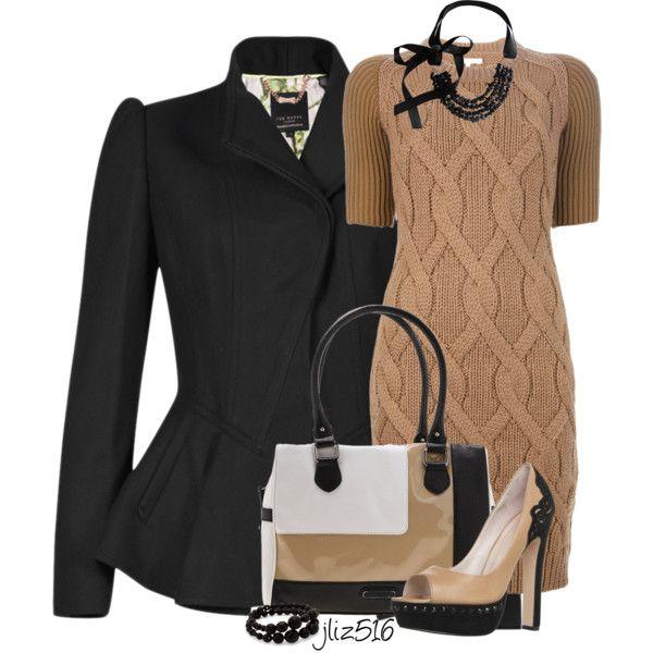 o-tan-dress-black-jacket-tan-shoe-pumps-howtowear-fashion-style-outfit-fall-winter-cableknit-sweater-peplum-necklace-bracelet-work.jpg
