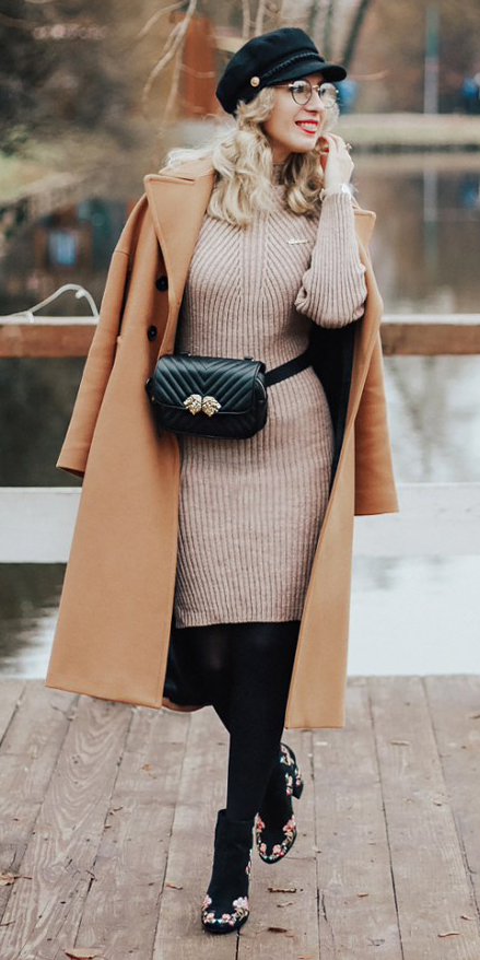tan-dress-sweater-black-bag-fannypack-blonde-hat-newsboycap-camel-jacket-coat-black-tights-black-shoe-booties-embroidered-fall-winter-lunch.jpg