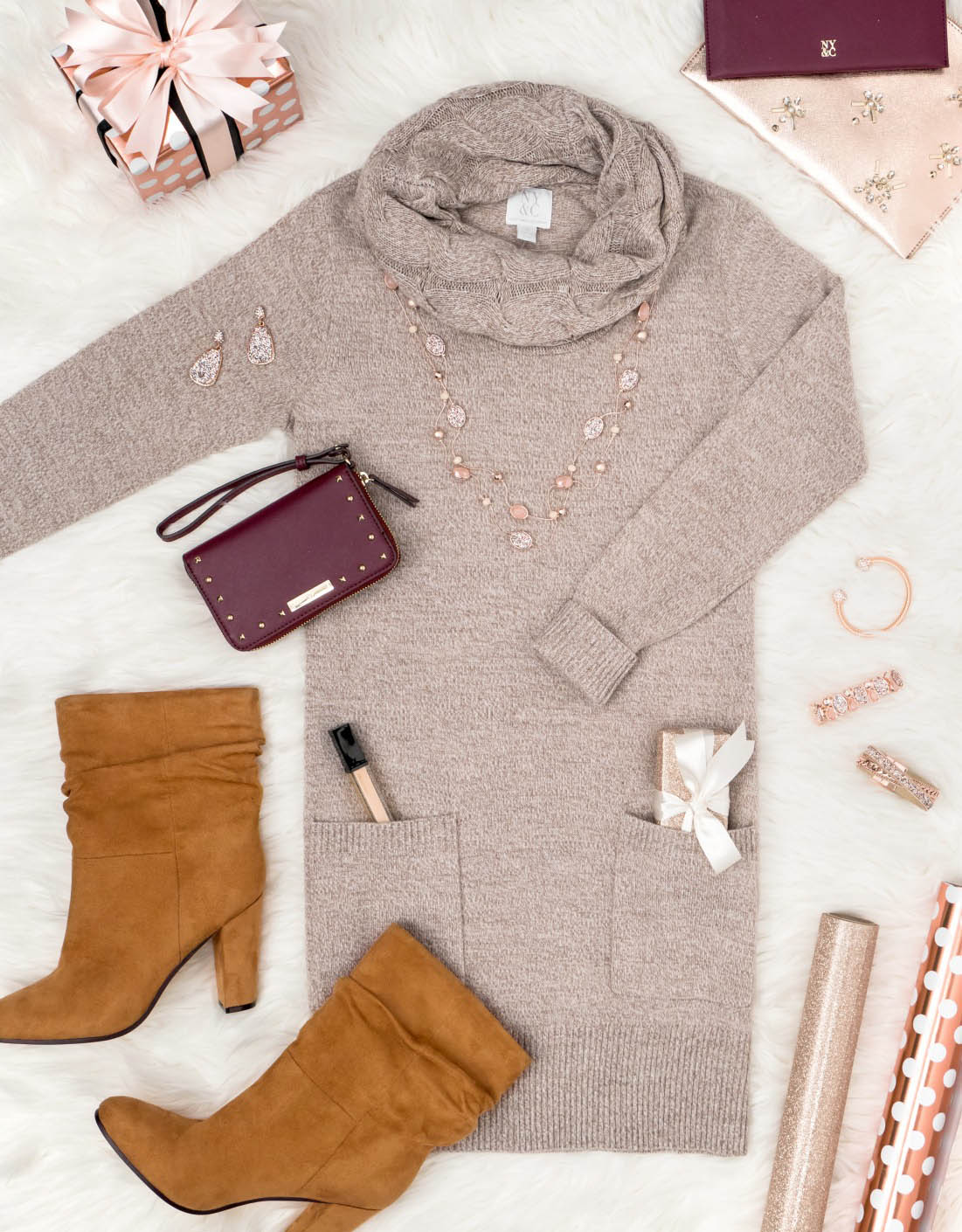 tan-dress-sweater-cognac-shoe-booties-necklace-fall-winter-lunch.jpg
