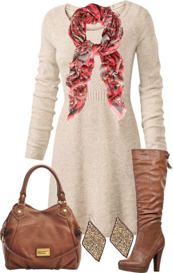tan-dress-sweater-red-scarf-cognac-shoe-boots-cognac-bag-earrings-fall-winter-lunch.jpg