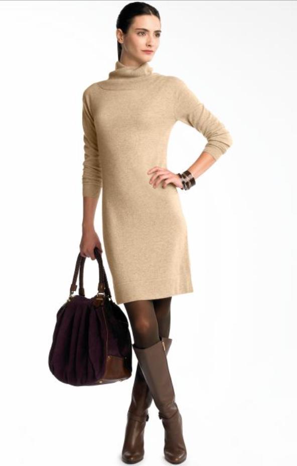 o-tan-dress-brown-shoe-boots-brown-tights-bracelet-pony-purple-bag-sweater-wear-style-fashion-fall-winter-brunette-work.jpg