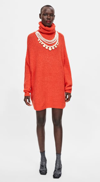 orange-dress-sweater-pearl-necklace-turtleneck-socks-black-shoe-sandalh-brun-fall-winter-dinner.jpg