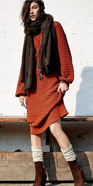 orange-dress-brown-scarf-brown-shoe-booties-socks-necklace-pend-sweater-wear-style-fashion-fall-winter-socks-brunette-weekend.jpg