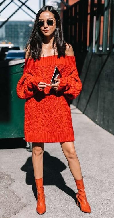 orange-dress-sweater-offshoulder-orange-shoe-booties-mono-brun-sun-fall-winter-lunch.jpg