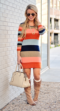 orange-dress-sweater-stripe-print-white-bag-tan-shoe-boots-necklace-blonde-howtowear-fashion-style-outfit-fall-winter-sun-lunch.jpg