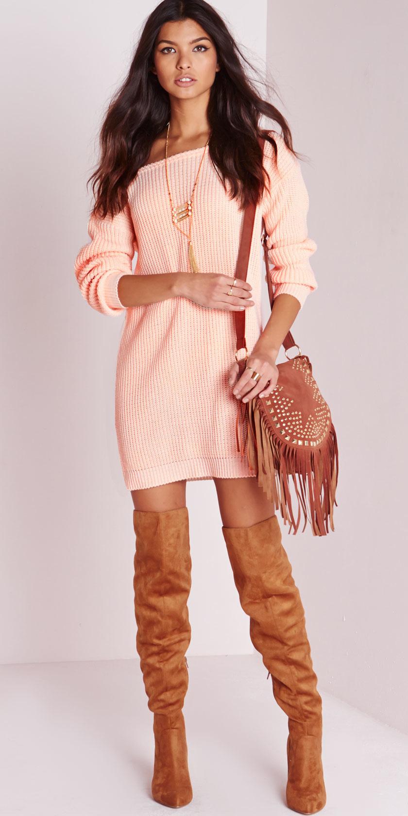 peach-dress-sweater-orange-dress-fringe-cognac-shoe-boots-otk-necklace-pend-brun-fall-winter-weekend.jpeg