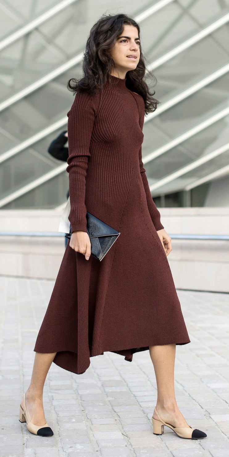 brown-dress-sweater-tan-shoe-flats-midi-fall-winter-brun-lunch.jpg
