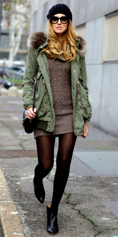 brown-dress-sweater-green-olive-jacket-coat-parka-brown-tights-black-shoe-booties-beanie-sun-howtowear-fall-winter-blonde-lunch.jpg