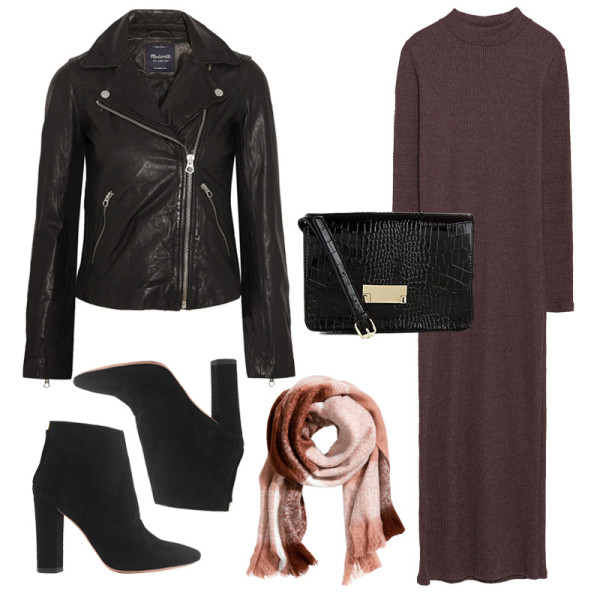 brown-dress-sweater-tan-scarf-plaid-black-bag-black-jacket-moto-black-shoe-booties-fall-winter-thanksgiving-outfits-holidays-dinner.jpg