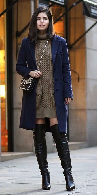 brown-dress-sweater-blue-navy-jacket-coat-black-shoe-boots-turtleneck-fall-winter-brun-lunch.jpg