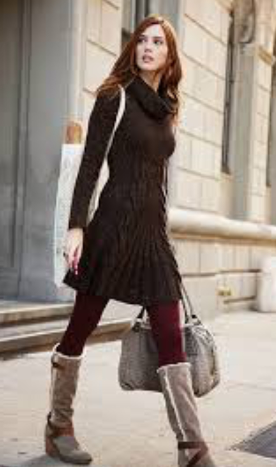 brown-dress-tan-shoe-boots-sweater-wear-style-fashion-fall-winter-burgundy-tights-turtleneck-hairr-lunch.jpg