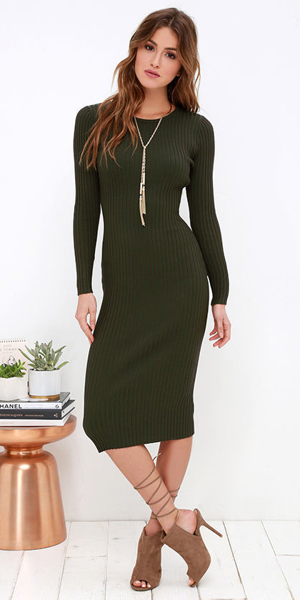 green-olive-dress-sweater-necklace-tan-shoe-sandalh-fall-winter-hairr-lunch.jpg