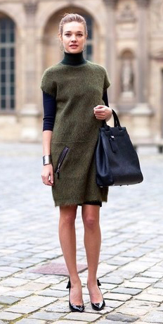 green-olive-dress-shift-black-sweater-turtleneck-black-shoe-pumps-layer-black-bag-bracelet-bun-howtowear-fashion-style-outfit-fall-winter-hairr-work.jpg
