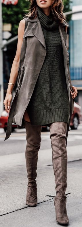 green-olive-dress-sweater-turtleneck-brun-brown-vest-utility-brown-shoe-boots-otk-tonal-fall-winter-lunch.jpg