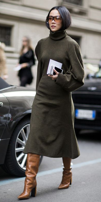 green-olive-dress-sweater-turtleneck-cognac-shoe-boots-brun-sun-fall-winter-lunch.jpg