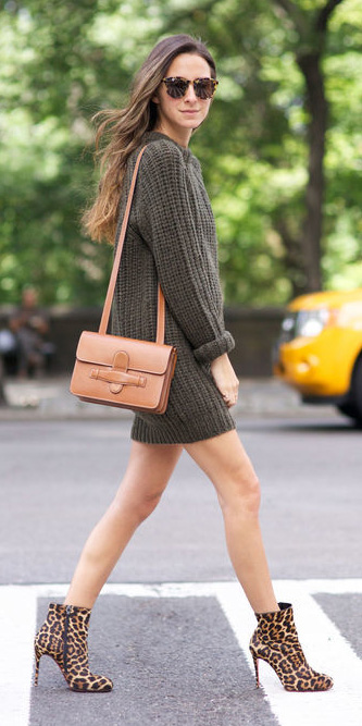 green-olive-dress-sweater-cognac-bag-sun-brown-shoe-booties-leopard-print-fall-winter-hairr-lunch.jpg