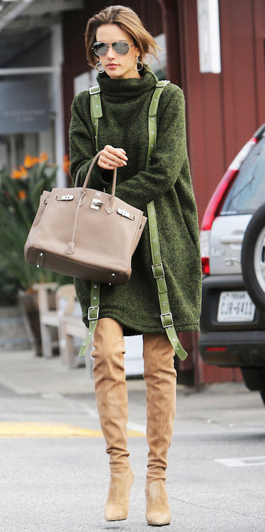 green-olive-dress-sweater-sun-tan-shoe-boots-otk-fall-winter-hairr-lunch.jpg