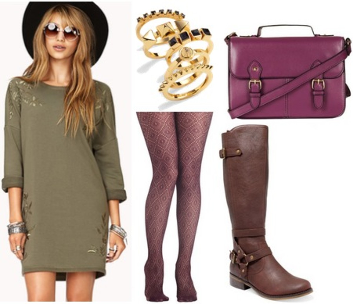 green-olive-dress-sweater-purple-tights-purple-bag-brown-shoe-boots-ring-howtowear-fashion-style-outfit-fall-winter-hairr-lunch.jpg