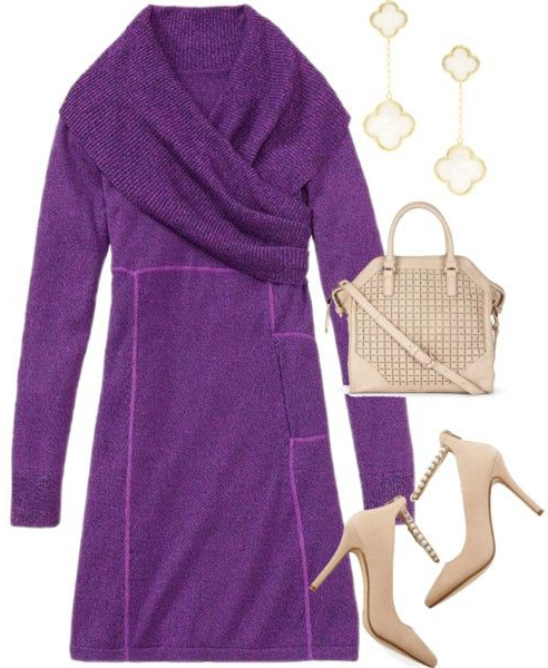 purple-royal-dress-sweater-tan-shoe-pumps-tan-bag-earrings-fall-winter-work.jpg