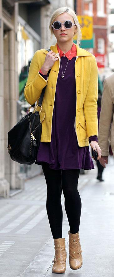 purple-royal-dress-yellow-jacket-black-tights-tan-shoe-booties-black-bag-sun-sweater-wear-style-fashion-fall-winter-fearnecotton-blonde-work.jpg