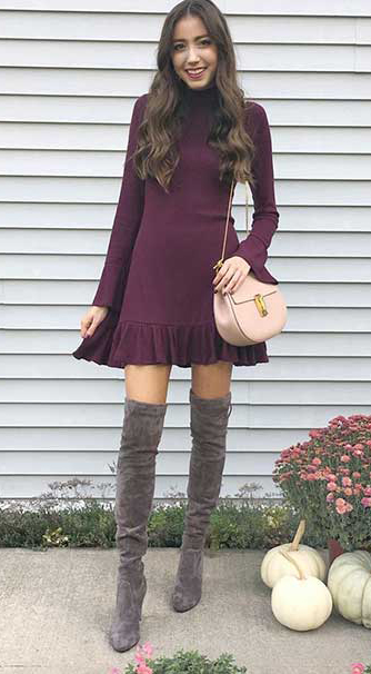 purple-royal-dress-mini-sweater-hairr-tan-bag-gray-shoe-boots-otk-fall-winter-lunch.jpg